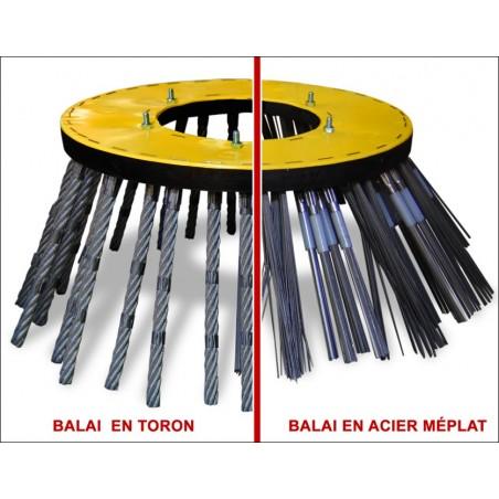 Brosse métallique Ø 500 ou 750 mm - En acier méplat ou toron